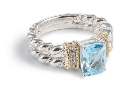 Blue Topaz Double Twist and White Sapphire Ring