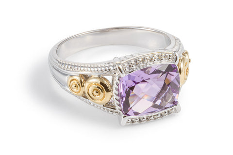 Amethyst Oblong Ring with White Sapphires