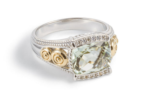 Mint Green Quartz Oblong Ring with White Sapphires