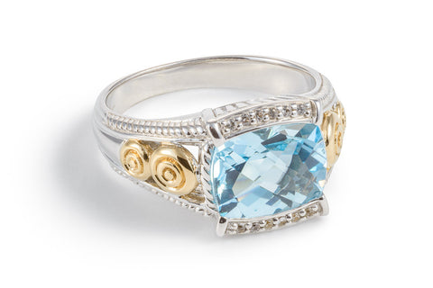 Blue Topaz Oblong Ring with White Sapphires