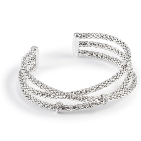 Silver Three Band Twist Bangle
