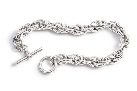 Sterling Silver Twist Three Link Bracelet