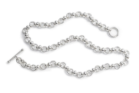 Sterling Silver Mixed Link Necklace 18""
