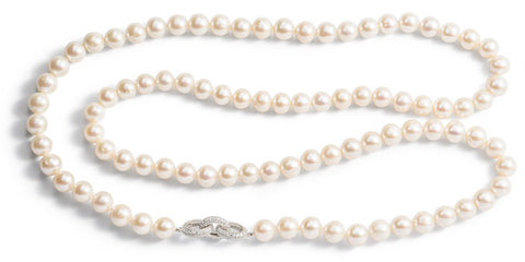 Pearl Necklace with CZ Linked Clasp