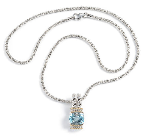 Blue Topaz and White Sapphire double Twist Necklace