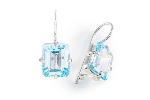 Blue Topaz Rectangular Hook Earrings