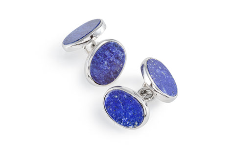 Lapis Sterling Silver Oval Cufflinks