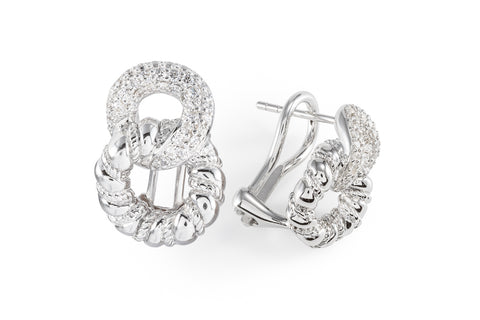 White Sapphire Knot Earrings
