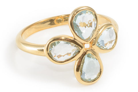 Sky Blue Topaz Flower Ring