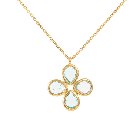 Blue Topaz Vermeil Flower Necklace