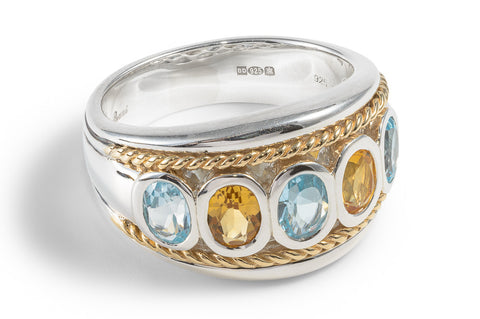 Blue Topaz & Citrine Five Stone Ring