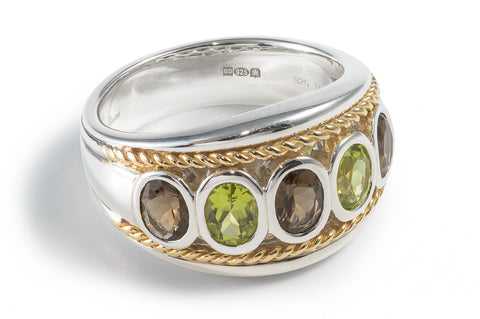 Smoky Quartz & Peridot Five Stone Ring