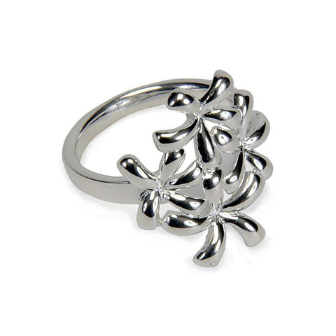 Sterling Silver Four  Flower Ring
