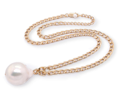 "Large Baroque Pearl with White Sapphire on 18"" Gold Vermeil  Curb Chain (NEW)"