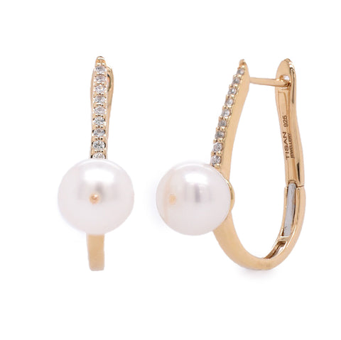 Pearl and White Sapphire Gold Vermeil Drop Earrings (NEW)