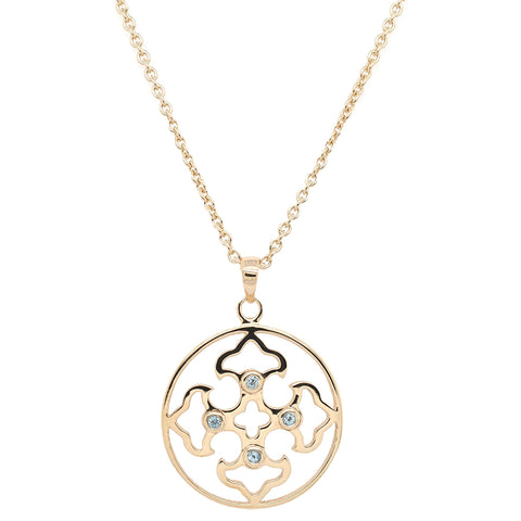 Vermeil Filigree Pendant with Blue Topaz (NEW)