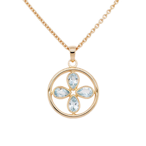 Vermeil Circle Blue Topaz Flower Necklace (New)