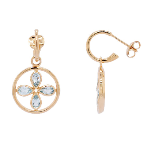 Vermeil Circle Blue Topaz Flower Earrings (New)
