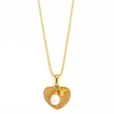 Vermeil Drop Pearl Heart Necklace