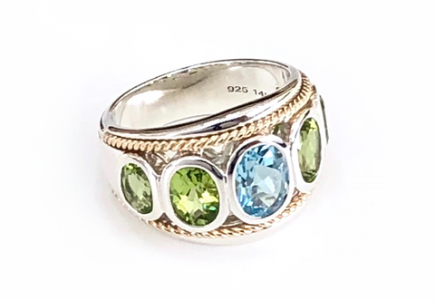 Blue Topaz and Peridot Five Stone Large Ring