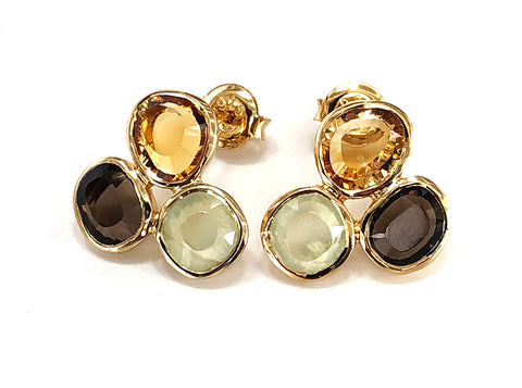 Vermeil Smoky Quartz, Citrine and Prehinite Triple Stone Earrings