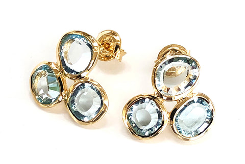 Vermeil Blue Topaz Triple stone Earrings