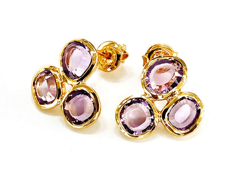 Vermeil Amethyst Triple Stone Earrings