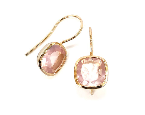 Rose Quartz Square Hook Earrings