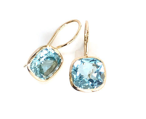 Blue Topaz Square Hook Vermeil Earrings