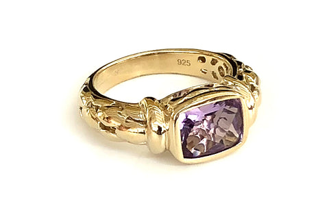 Amethyst Oblong Detailed Ring