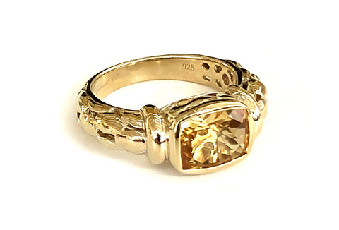 Citrine Oblong Detailed Ring