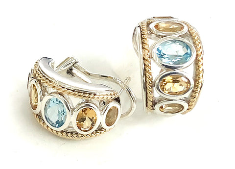 Blue Topaz and Citrine  Five Stone Large Earrings