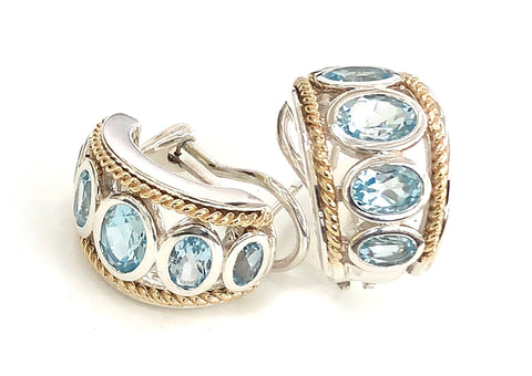 Five Stone Large Blue Topaz Earrings