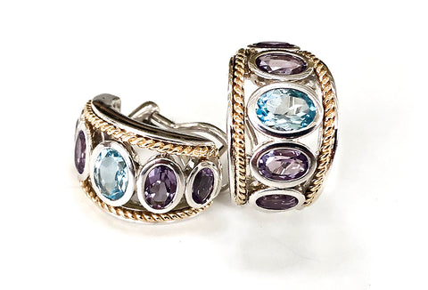 Blue Topaz and Amethyst  Five Stone Large Earrings