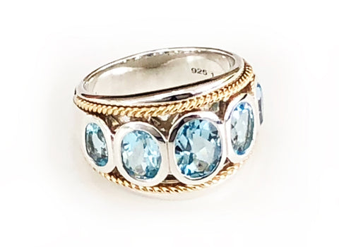 Sky Blue Topaz Five Stone Large Ring