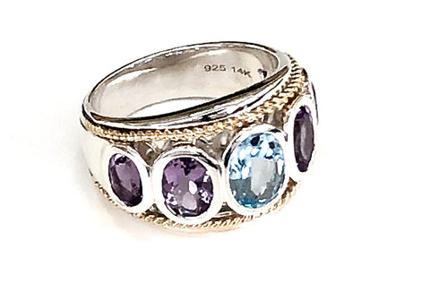 Five Stone Large Blue Topaz and Amethyst Ring