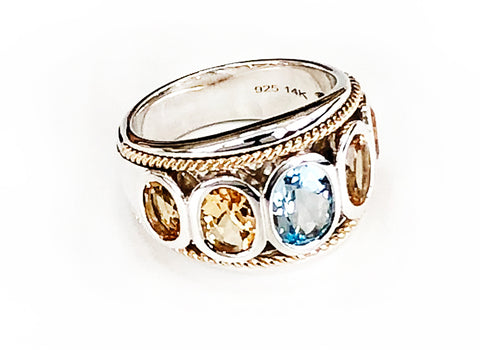 Blue Topaz and Citrine Five Stone Large Ring