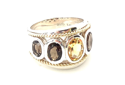 Citrine and Smoky Quartz  Five Stone Large Ring