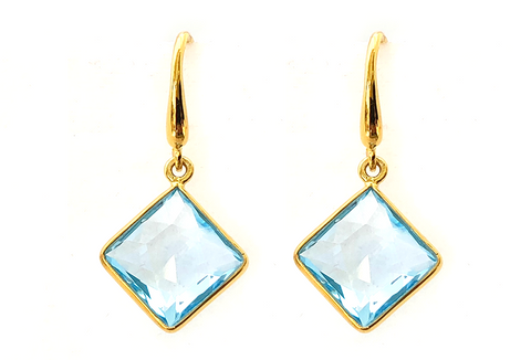 Blue Topaz Square Drop Earrings