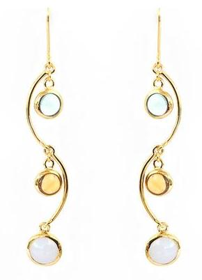 Gold Vermeil, Blue Topaz, Blue Chalcedony and Citrine Hook Earrings