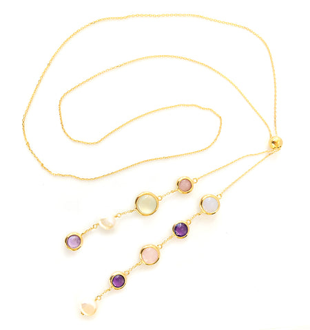 "Multi-Stone and Pearl Gold Vermeil 32"" Lariat"