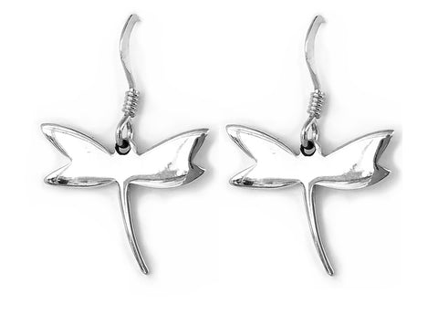 Sterling Silver Dragonfly Hook Earrings