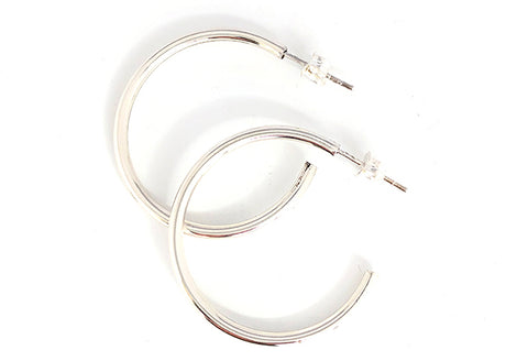 Medium Thin Hoop Silver Earrings