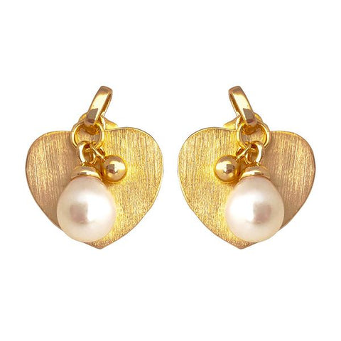 Vermeil Drop Pearl Heart Earrings