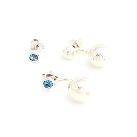 Blue Topaz Tiny Studs (alternative stud for the silver double ball earrings)
