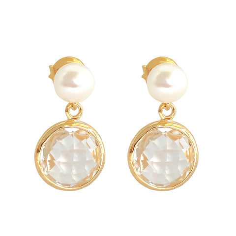 Pearl and Crystal Vermeil Earrings