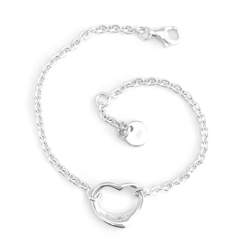 'NEW' Silver Open Heart Bracelet