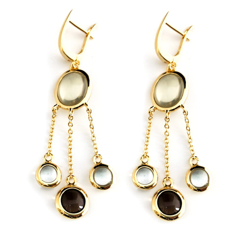 """NEW"" - Vermeil Chandelier Earrings Lemon Quartz and Smoky Quartz"