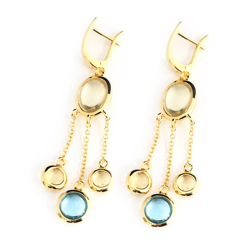Vermeil Blue Topaz and Lemon Quartz  Chandelier Earrings