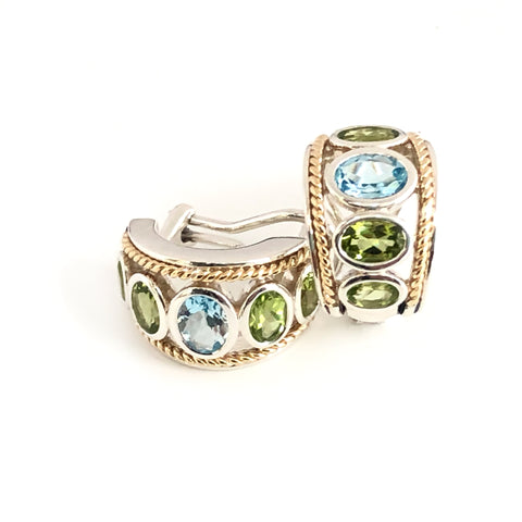 Five Stone Large Blue Topaz and Peridot Earrings
